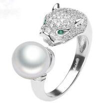 Leopard Ring 925 Sterling Silber Süßwasser Perle AAA Rhodiniert Silberring