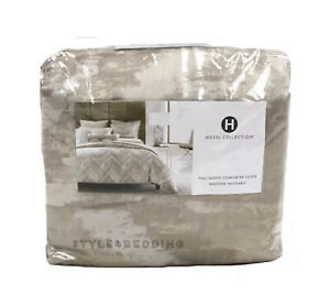 Hotel Collection Distressed Chevron FULL / QUEEN Duvet Cover Gold - NEW