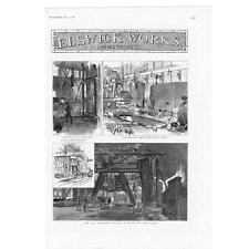 NEWCASTLE UPON TYNE Elswick Works; Hydraulic Press, Hammer - Antique Print 1887