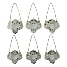 6 Tags Silver Engraved Fancy Floral Decanter Labels Liquor Bottle Label Tag