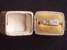 ANTIQUE 18 ct. YELLOW GOLD, OPAL & DIAMOND 7 STONE RING ~STUNNING