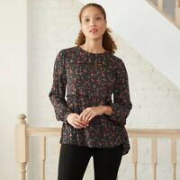 Women's Floral Print Long Sleeve Babydoll Top - Knox Rose Black M