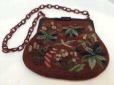 J.W. Robinson Co Tortoise Shell Bakelite & Tapestry Purse Brown & Multi-Colored