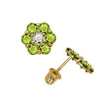 14K Oro Amarillo Macizo Verde Peridoto Pendientes de Presión con Flor de Rosca
