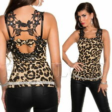 Sexy Women's Top Evening Clubbing Lace Crochet Shirt Size 6 8 10 12 / XS S M L