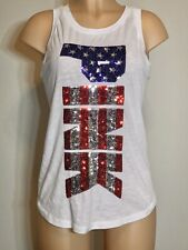 EUC '16 💖 Victoria Secret SEQUIN Patriot PINK Tank Top T Shirt Small Bling USA
