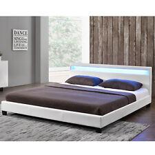 Polsterbett Kunstlederbett Doppelbett mit LED Bettgestell weiss 140 x 200 cm