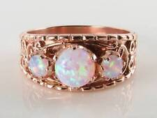 WIDE 9CT 9K ROSE GOLD AUS OPAL GYPSY BAND ART DECO INS TRILOGY RING FREE RESIZE