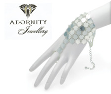 SILVER CHAIN MAIL RING AND BRACELET SET SUMMER FESTIVAL GIFT COSTUME JEWELLERY
