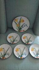 Set of 6 Vintage Ava's Greenhouse Daffodil Bergmann Salad Dinner Plates Dessert