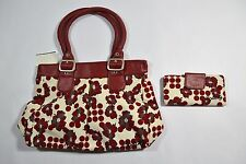 Split RED STOPPER Red Gray Off White Metal Hardware Flowers Dots Purse & Wallet