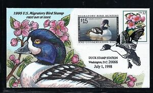 1998 RW65 BARROWS GOLDENEYE DUCK COLLINS FDC First Day Cover