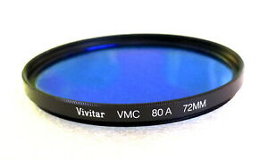 72mm VIVITAR (Tiffen) VMC 80A Blue CC Filter - Multi Coated - NEW