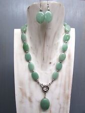 "18"" Jade Necklace Oval Beads with Oval Pendant Free Earrings Handmade US Seller"