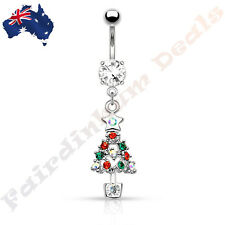 Jewelled Silver Ion Plated Belly Ring with Multi Gemmed Christmas Tree Dangle