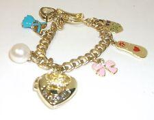 Juicy Couture Gold Locket Charm Bracelet Heart, Dress,Flip Flop,Pearl,Pink Bow!