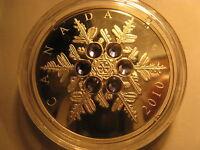 Canada 2010 $20 Fine Silver Coin Crystal Snowflake Tanzanite Rare RCM Pack.