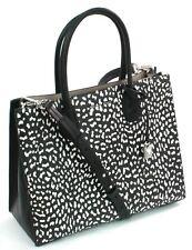 Michael Kors Mercer blanco y negro estampado leopardo bolso de cuero grande