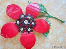 "CRANBERRY RED 3.5"" long stem VINTAGE metal FLOWER PIN black center w RHINESTONES"