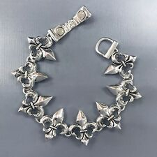 Trendy Silver Finish Fleur De Lis Shape Swirl Design Magnetic Bangle Bracelet
