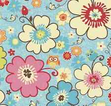 COTTON by 1/2 Yard ~ Happy Flappers Main Blue ~ Riley Blake Fabric owls flowers