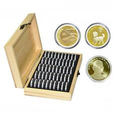 Wood Coins Display Storage Box Collectible Case for Certified Coin + 50 Capsules