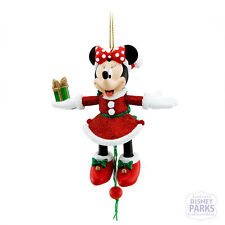 Disney Parks Minnie Mouse Santa Pull String Present Glitter Ornament Christmas