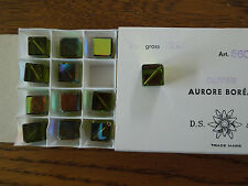Swarovski NOS Ab Olivine cubes Vint Art 5600 drilled diagonal 10mm tray 24 beads