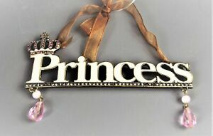 Princess hanging Vintage style Sign with Crown Feature Crystal Diamante style...