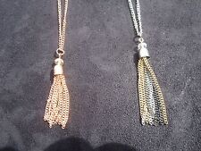 Silver Chain with Crystal Embellished Tri-Color Tassel