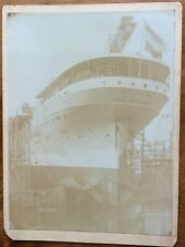 SS FRISIA AMSTERDAM Steamship Cruise Ship in Dry Dock Cabinet Card style Photo