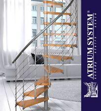 NOVO 140 Space Saver  Spiral Loft Staircase Kit NATURAL BEECH- Silver Metal Work