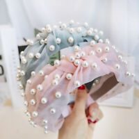 Women's Lace Headband Cross Knotted Hairband Pearl Hair Bands Hair Accessories