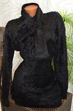 Pullover Kleid Long Pulli Plüsch Strick 2tlg Zopf Muster Schal schwarz Gr. 40/42