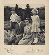 British QUEEN ELIZABETH II & PRINCE PHILIP Rare Signed Photo / Greeting Card