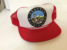 Vintage Seattle Washington Trucker Snapback Red White City Hat EUC