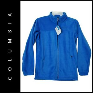 Columbia Youth Casual Outdoor Full Zipper Front Fleece Jacket Blue Size XL / 18