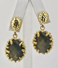 Etruscan Revival Oval Labradorite Earrings 22kt Yellow Gold Overlay, New