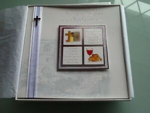 Holy communion card son first communion in box with tissue perfect condition