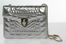 BVLGARI Serpenti Forever Flap Bag Metallic Silver Quilted Leather Chain Strap