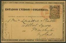Panama 1889 Colombia card/AGENCIA POSTAL NACIONAL COLON