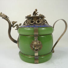 Chinese old Tibetan silver Dragon Lion Green jade Cloisonne teapot Monkey