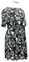 CHARTER CLUB 1X black floral stretch knit elbow sleeve ballet neck knee dress
