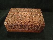 "VINTAGE WOODEN TRAMP ART CARVED CAMPHOR WOOD TRINKET BOX Size 6""x4""x3"" Approx"