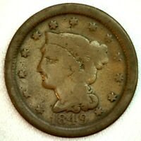 1849 Braided Hair US One Cent Penny Coin 1c Copper Coin Good Large Cent
