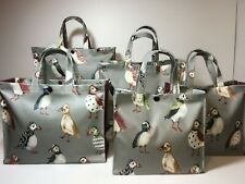 Handmade,100% Oilcloth Cotton Bags, Puffins with Steel Grey Gusset in Matt
