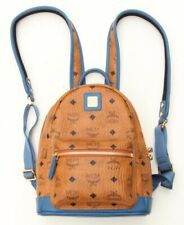 MCM Monogrammed Mini Visetos Cognac Slate Blue Backpack - $725