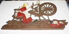 Rare Painted Syroco Wool Spinning Wheel  Date Coded 1971 Large