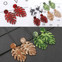 Boho Resin Acrylic Leaf Leaves Earrings Drop Dangle Ear Stud Jewelry Charms Gift