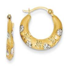 14K Yellow Gold Diamond Cut Flower & Dragonfly Hoop Earrings Madi K Kids Jewelry